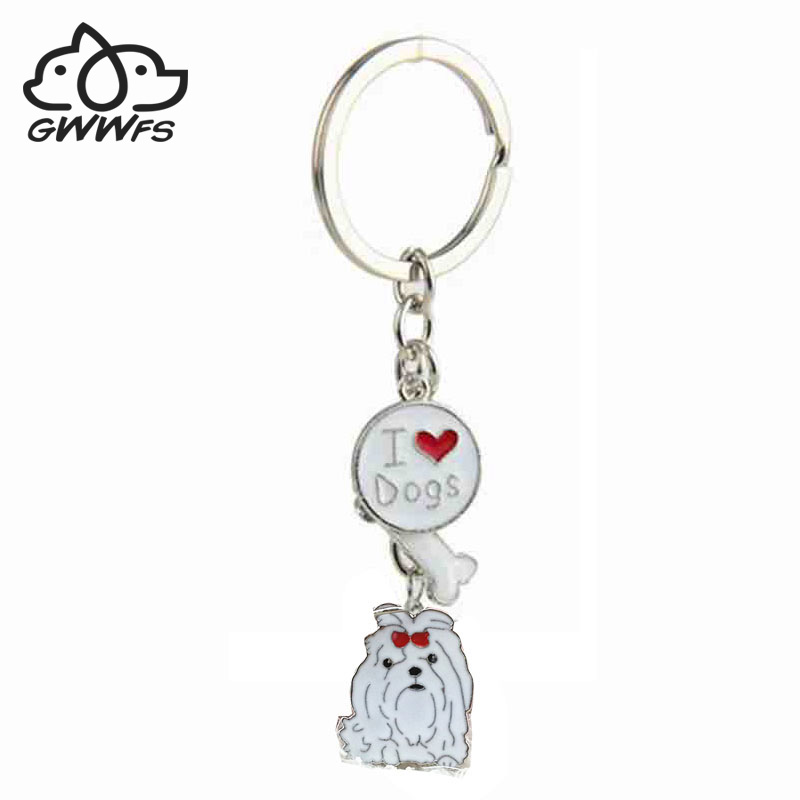 Maltese Pendant Key Chains For Girls Women Men Silver Color Metal Alloy Pet Dog Charms Male Female Car Bag Keychain Key Ring