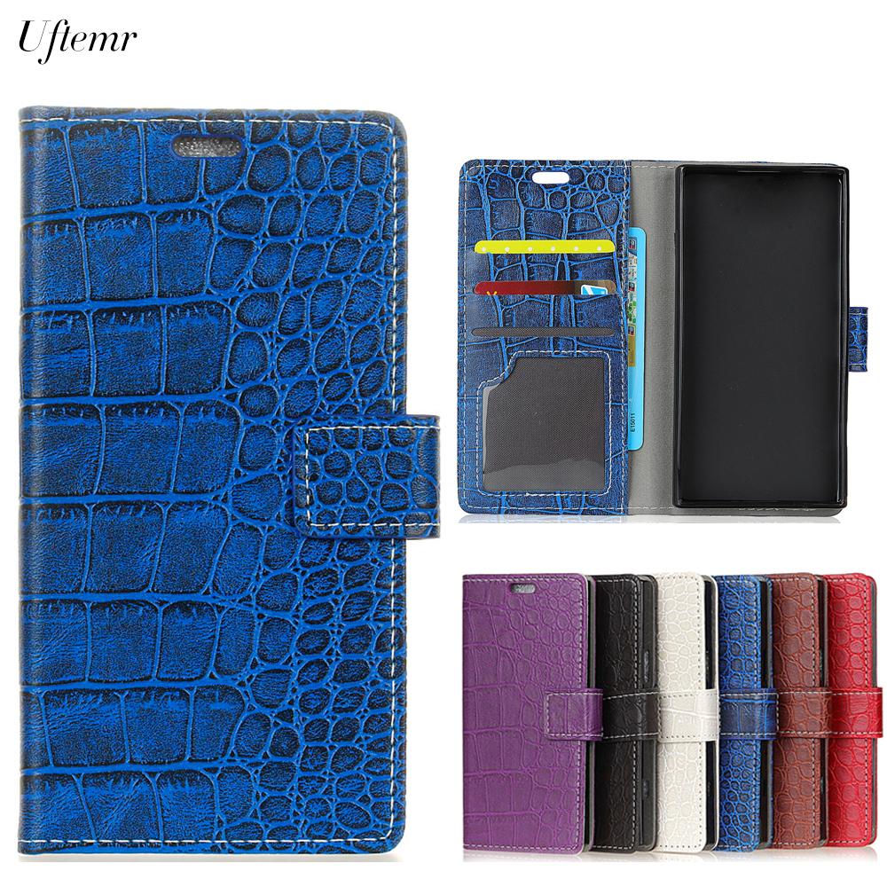Uftemr Vintage Crocodile PU Leather Cover For ZTE Blade A6 Protective Silicone Case Wallet Card Slot Phone Acessories