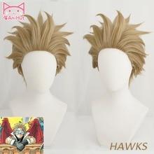 AniHut Hawks No.2 Boku No Hero Academia Anime Cosplay Wig My Academia/Academy Hair Short Brwon Wigs