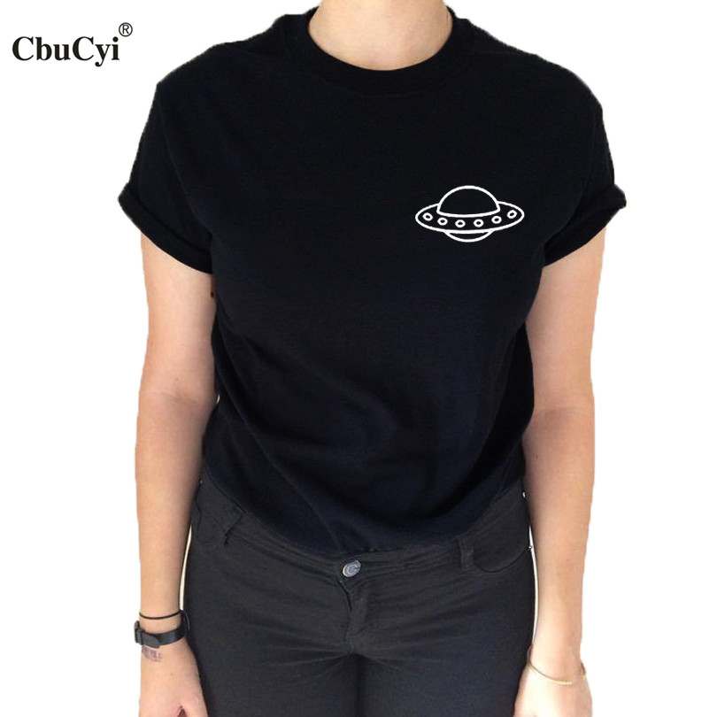 Ufo pocket t shirt fashion blogger space ship alien head t for Pocket tee shirts for womens