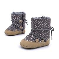 طفل طفل الشتاء حذاء طفل الفتيات الأحذية الدافئة pu جلد الرضع الأولى مشوا الوليد خطوة الشتاء الفراء حذاء