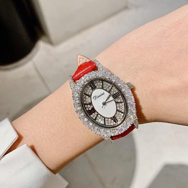 2019 موضة فاخرة مصمم العلامة التجارية حزام من الجلد الماس النساء ساعات كوارتز شكل بيضاوي مقاوم للماء السيدات