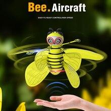 Животное, пчела, Электрический Летающий Радиоуправляемый датчик, пчела, инфракрасная индукция, мини-самолет, светодиодный светильник, забавные игрушки для детей, летающие, безопасная ручная игрушка