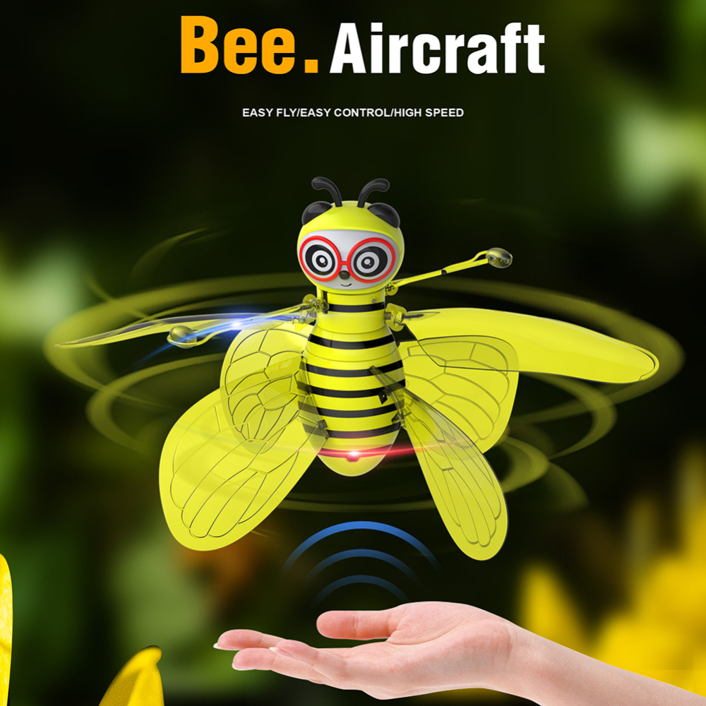 Animal Bee Electric Flying RC Sensor Bee Infrared Induction Mini Aircraft LED Light Fun Toys Kids Flying Safety Manual Hand Toy
