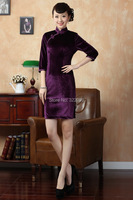 Shanghai Story Traditional chinese dress Velour cheongsam dresses qipao chinese dress Cheong sam chinese dress 5 color