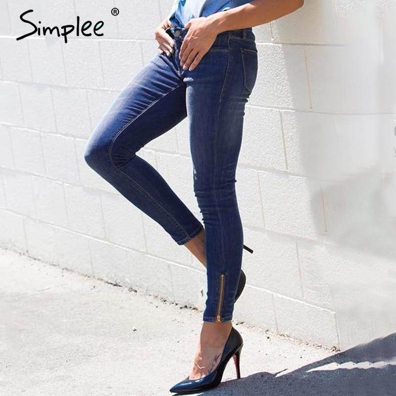 Simplee zipper high waist   jeans   women Casual pants pocket blue skinny   jeans   autumn 2017 pencil denim pants winter trousers