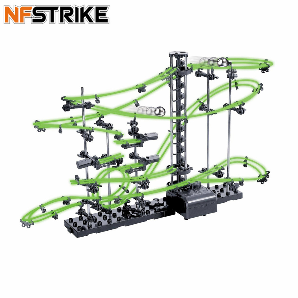 10000mm/16000m Space Rail Level 2 Glow In Dark Roller Coaster With Steel Balls Model Building Kits Kids DIY Educational Toys|Model Building Kits|   - title=