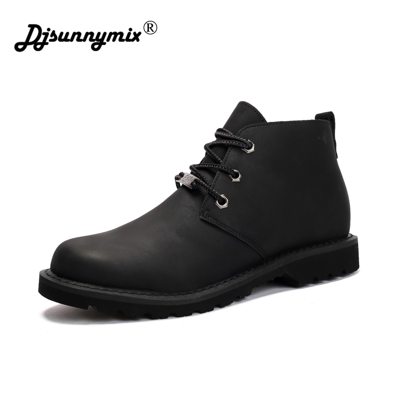 DJSUNNYMIX Classic Microfiber leather tooling boots men martin shoes fashion desert boots popular high top leather shoes