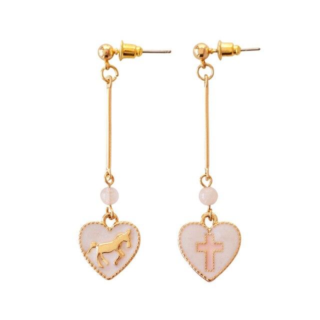 Christmas Gifts Pink Crystal Beads Ten Cross Earrings For Women Kids Lovely Heart Shape Golden Unicorn