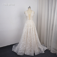 Deep V Neck Sequin Lace Wedding Dress A Line Bridal Gown with Low Back
