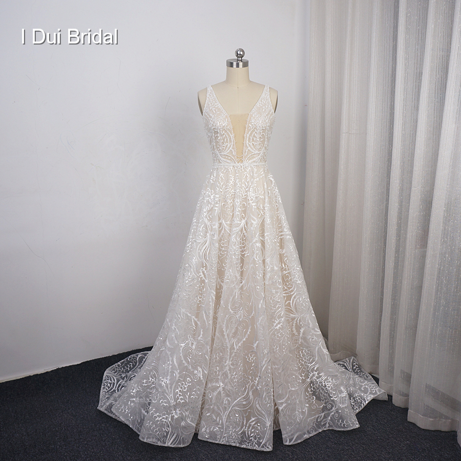 Deep V Neck Sequin Lace Wedding Dress With Video A Line Bridal Gown With Low Back