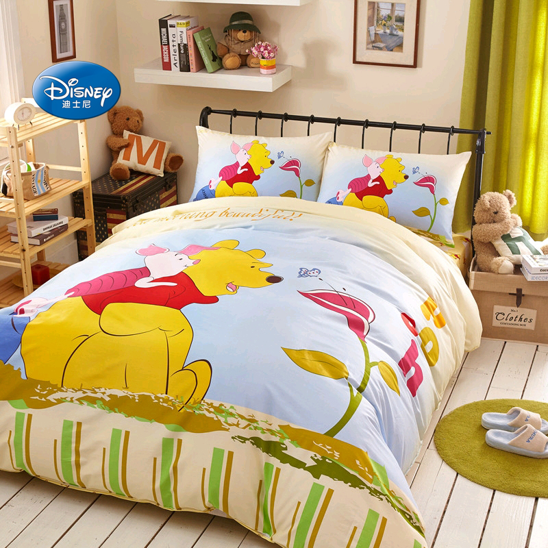 Disney Striped Yellow Licensed Winnie 100% Cotton Duvet Cover Set Bedlien for Children Kids Home Decoration 1.2m 1.5m BedDisney Striped Yellow Licensed Winnie 100% Cotton Duvet Cover Set Bedlien for Children Kids Home Decoration 1.2m 1.5m Bed