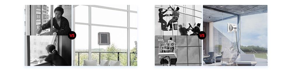 Умный робот-пылесос для уборки окон WS-960, 4 светодиода, вращающиеся на 360 °, с дистанционным управлением