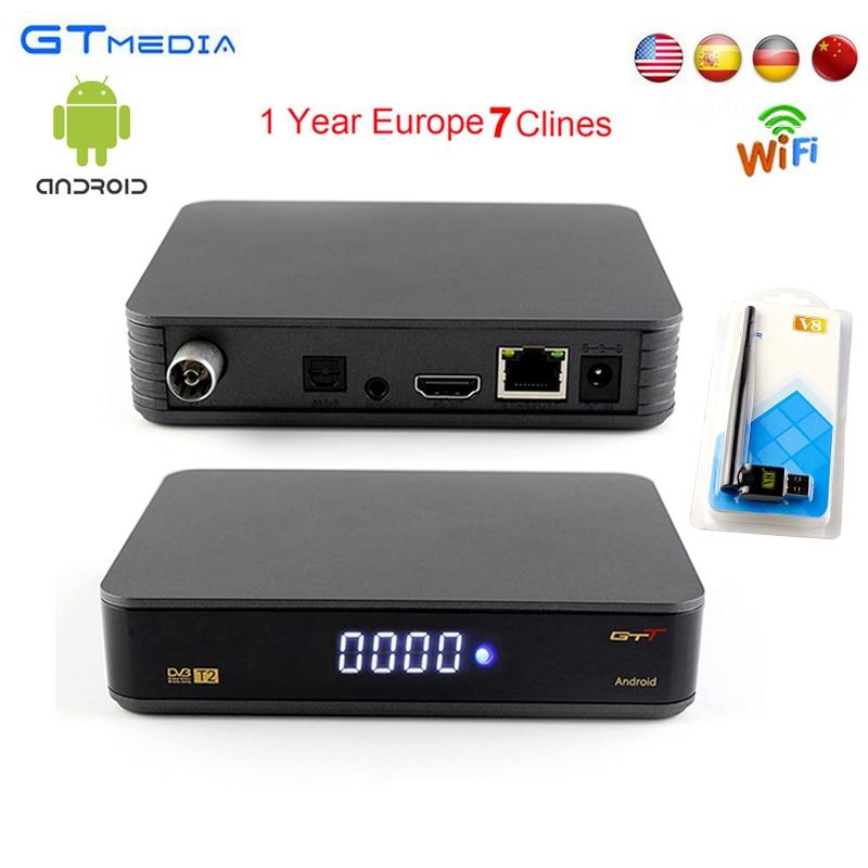 1 Year Europe 7 Clines Server Spain Gtmedia GTT Satellite Receiver DVB-T/T2 Android 6.0 Amlogic S905D 1GB RAM 8GB ROM HD TV BOX d202 android dvb t2 tv receiver