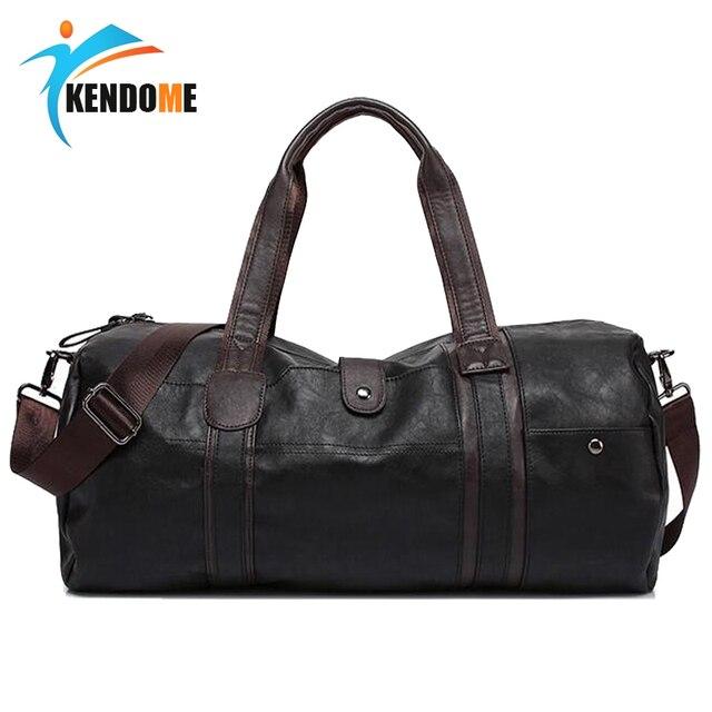 41c29c95824b Горячая A + + Качественная мужская классическая мягкая кожаная спортивная  сумка для фитнеса черная коричневая цилиндрическая
