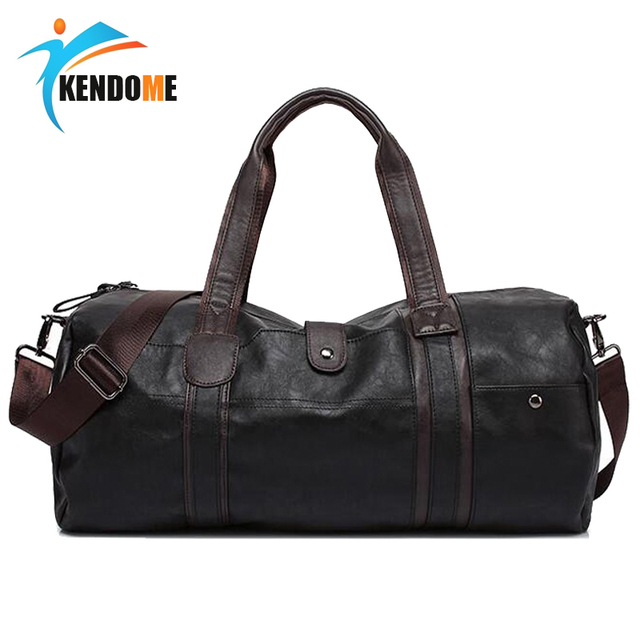 32d876d0aff0 US $30.44 48% OFF|Hot A++ Quality Men Classic Soft Leather Fitness Gym Bag  Black Brown Cylindrical Sports Bag Designer Single Shoulder Travel Bag-in  ...
