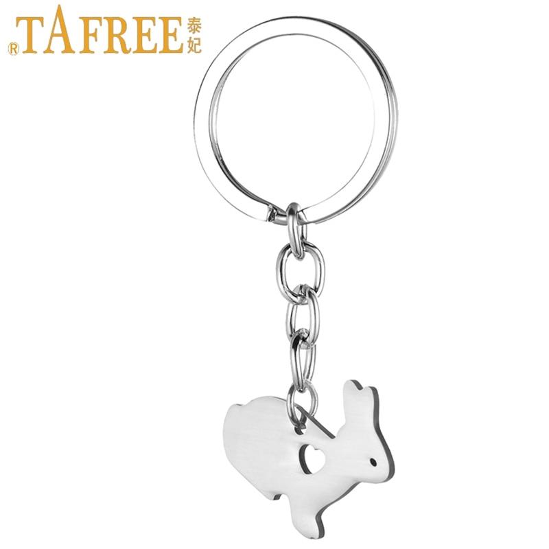 TAFREE Cute Little Bunny Women Purse Bag Keychain Stainless Steel Rabbit Pendant Key Chain Ring Holder Easter Gift Jewelry SKU14