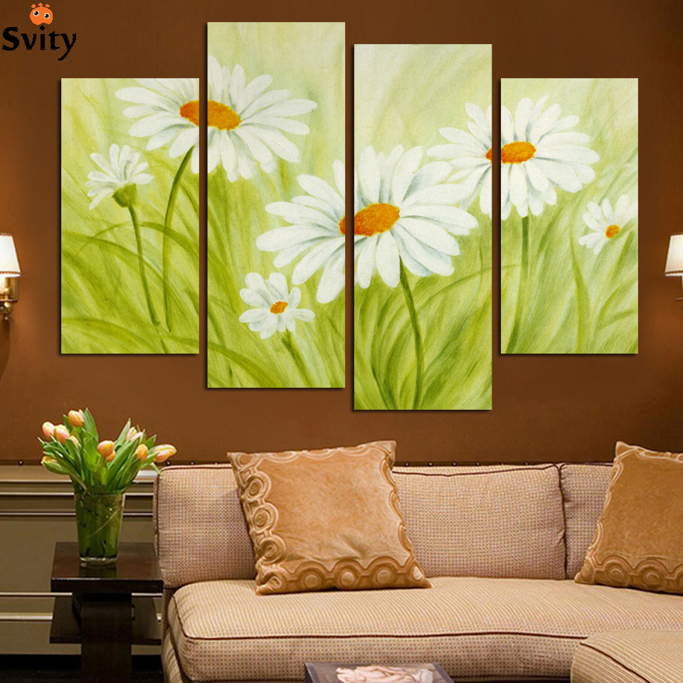 Fashion 4 panels unframed painting, flowers, home decoration, wall ...