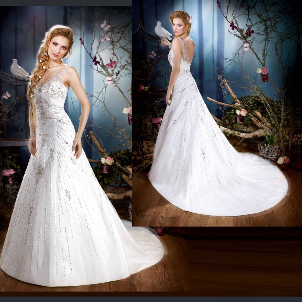 Jeweled Wedding Gowns: Free Shipping 2016 Modest Sexy V Neckline White Bridal