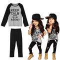 New Kids Girls Clothes Set Cool Letters Print O-Neck Long Sleeve T-shirt+Holes Pants 2Pcs/Set Fashion Outfit Set For 4-6Y