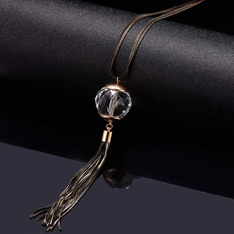 Długi łańcuch sweter duży kryształ naszyjnik kawy złoty kolor warstwowa Tassel biżuteria Trendy naszyjnik dla kobiet prezent urodzinowy