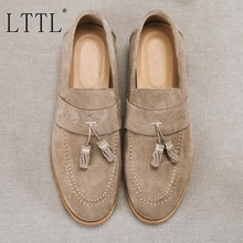 LTTL Suede Mens Shoes Handmade Simple Style Tassel Loafers Fashion Slip-on Casual Shoes Men Boat Shoes Breathable Male Slippers suede slip on mens shoes