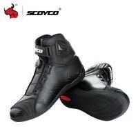 SCOYCO мотоботы Кожаные Сапоги Мотокросс Для мужчин Moto Сапоги в жокейском стиле с PP защиты оболочки на вершине пряжки