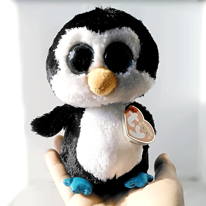 6 15 см Ty Beanie Боос оригинальные большие глаза Плюшевые игрушки куклы для детей со дня рождения Черный Пингвин ty для маленьких подарки для дет...