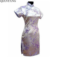 Light Purple Traditional Chinese Clothing Women S Satin Mini Cheongsam Qipao Dress Vestido Size S M