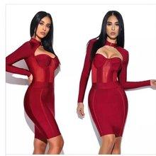 Высокое качество Новинка года Зима Женское платье цвет красного вина с длинным рукавом сетки Бандажное платье для вечеринок