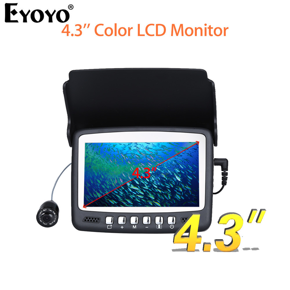 Eyoyo Original 15M 1000TVL Fish Finder Underwater Ice Fishing Camera 4.3 LCD Monitor 8 LED Night Vision Camera Sunvisor