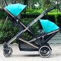 Assento duplo Carrinho de Bebê Gêmeo Carrinho Pode Se Sentar e Deitar Crianças Carrinho De Bebê Carrinho de Bebê Dobrável Divisão