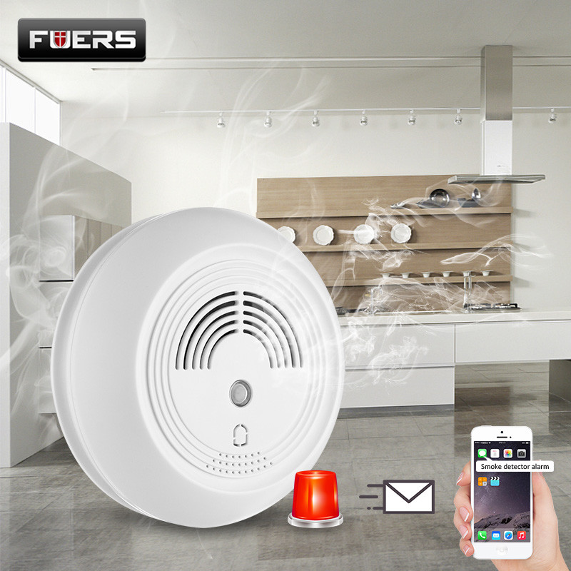 FUERS Wireless SMS GSM Fire Alarm System Loudly Strobe Flashing Light Siren Smoke Detector Sensors for Home Warehouse Security