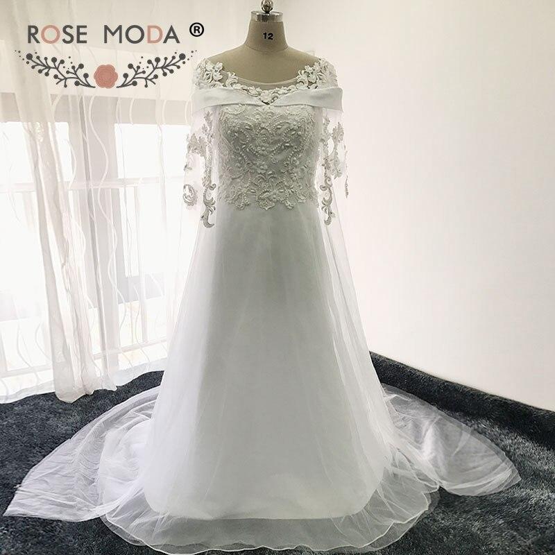 Rose Moda Boat Neck Lace Wedding Dress With Cape Beach