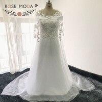 Rose Moda Boat Neck Lace Wedding Dress with Cape Beach Wedding Dresses 2018 Arabic Dress Dubai Real Photos