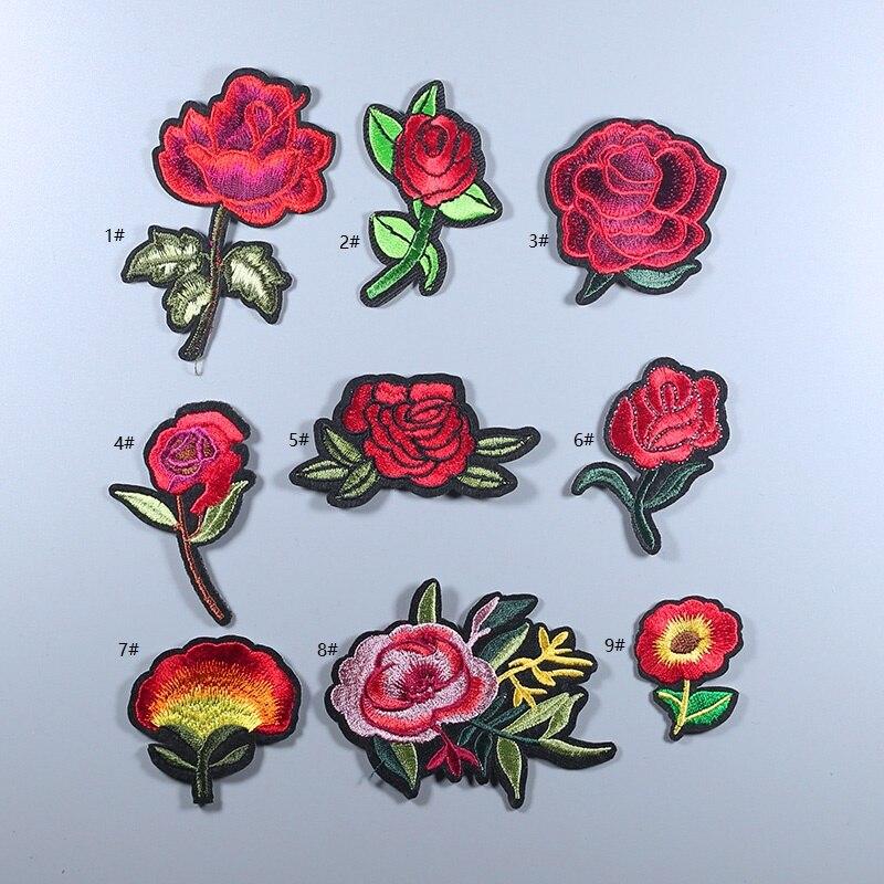 №Flores de colores rosa florete Mix pequeño hierro en parches ...