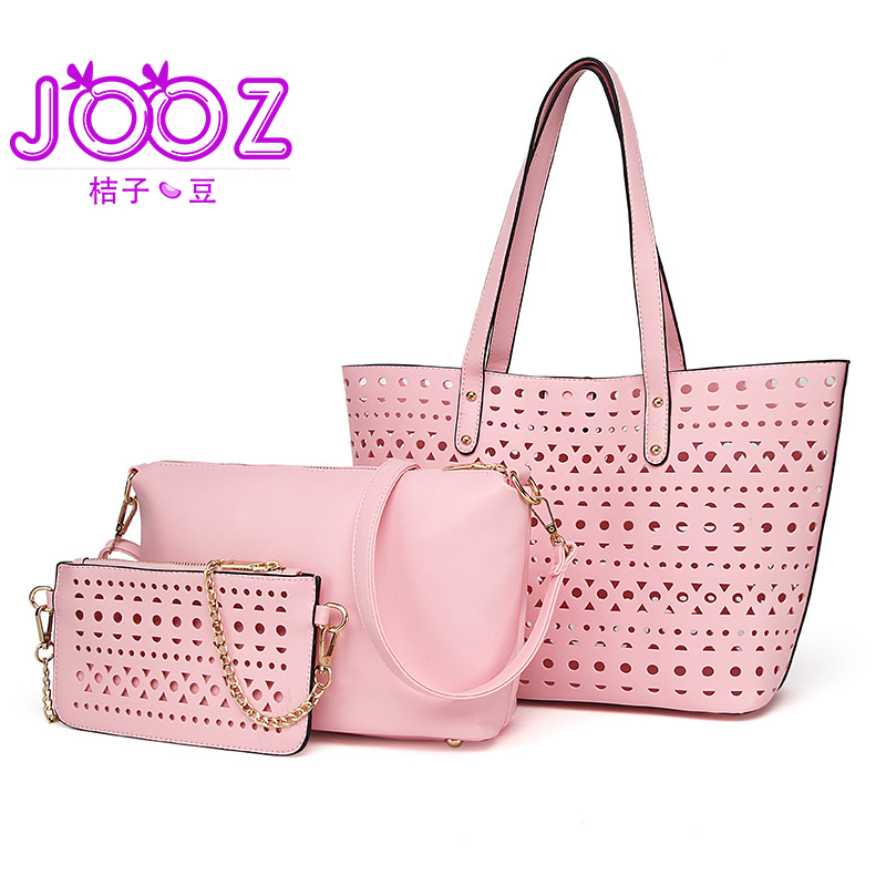 Jooz Black 3pcs Leather Bags Handbags Women Famous Brand Shoulder Bag Female Casual Tote Women Messenger Bag Set Bolsas Feminin jooz brand luxury belts solid pu leather women handbag 3 pcs composite bags set female shoulder crossbody bag lady purse clutch