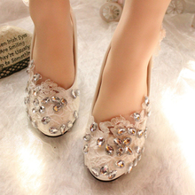 Lace handmade Rhinestone White crystal Wedding Shoes Heel Bridal Shoes Wedding Shoes Bride Bridesmaid Banquet Free Shipping