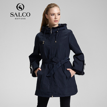 SALCO Free shipping new women's 2016 European and American fashion ladies windbreaker jacket and long sections