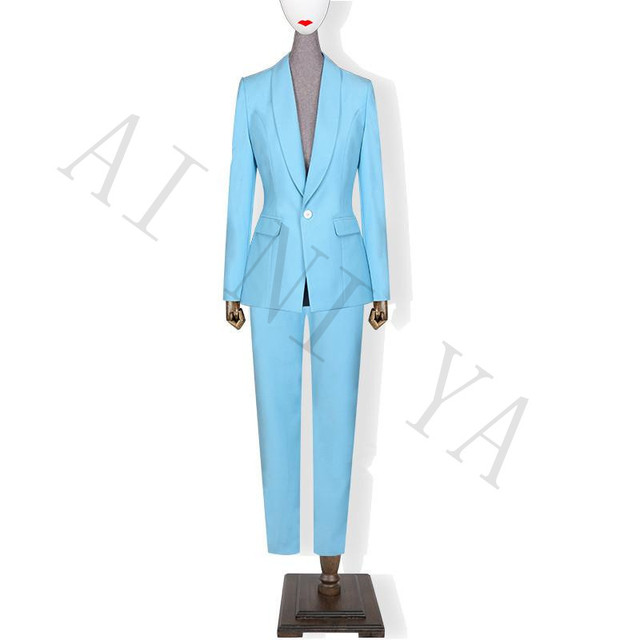 Jacket+Pants Women Business Suits Lake Blue Single Breasted Female ...