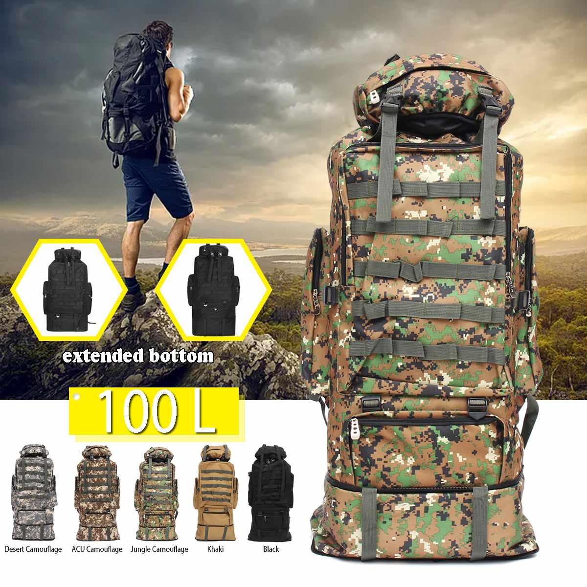 100L grande capacité en plein air sac à dos travail voyage camouflage bagages sac à dos hommes et femmes tente camping sac escalade randonnée sacs