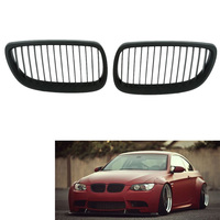 Gloss Black For BMW E92 E93 06 09 Coupe M3 Front Kidney Twin Fins Grille Grill