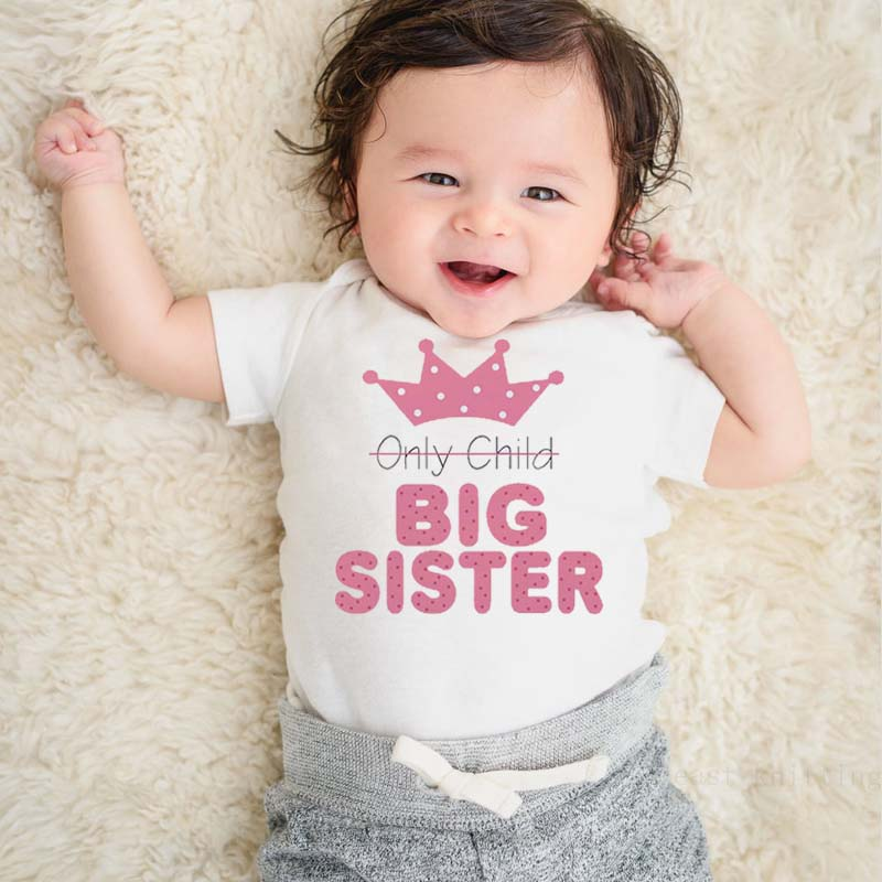 DERMSPE Quality Baby Rompers Short Sleeve Letter Pink Print Only Child Big Sister Novel Newborn Boys Girls Baby Clothes