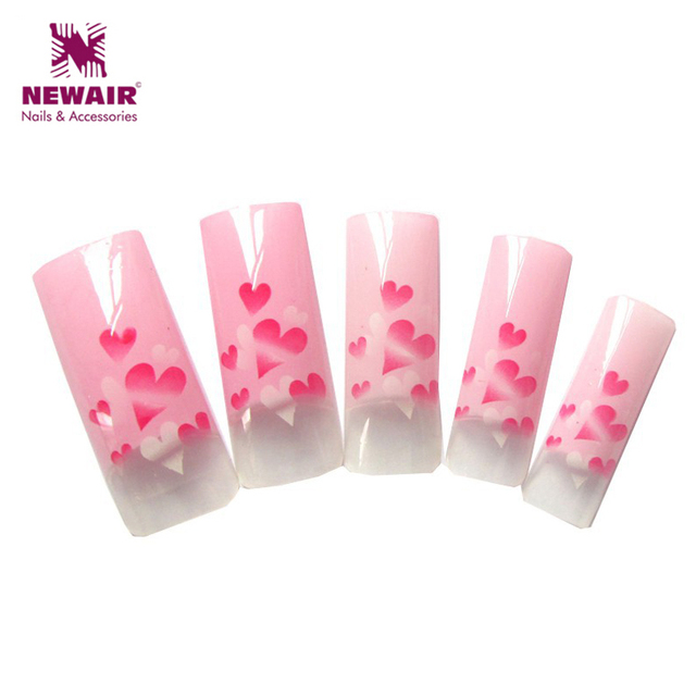 Lovely Ladies Series Pink Heart Design French Airbrush Nail Tips Mix