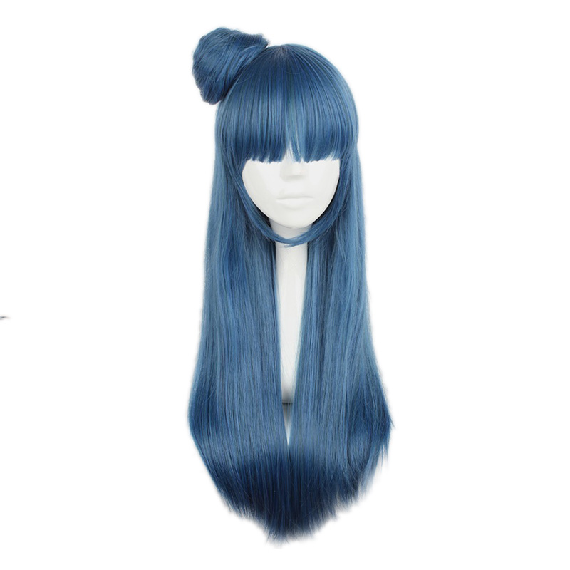Mcoser 75cm 30Navy Blue Color Synthetic Long straight hair With Contracting Cosplay Wig 100% High Temperature Fiber WIG-610F