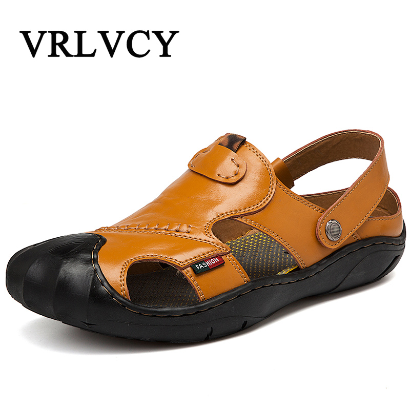2018 Summer New Fashion Trend Sandals Men Genuine Leather Baotou Beach Shoes Breathable Leisure Soft Cowhide Soft Bottom