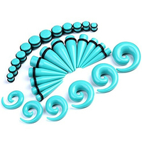 NEW ITEMS 30 Pcs Spiral Tapers Plugs Big Gauges Kit 10 20mm Turquoise Stretching Set