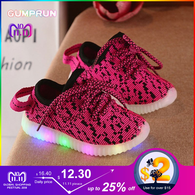 все цены на Fashion Children's Luminous Sneakers Comfortable Breathable Boys Sports Shoes Mosaic Cotton Non-slip Wearable kids shoes онлайн
