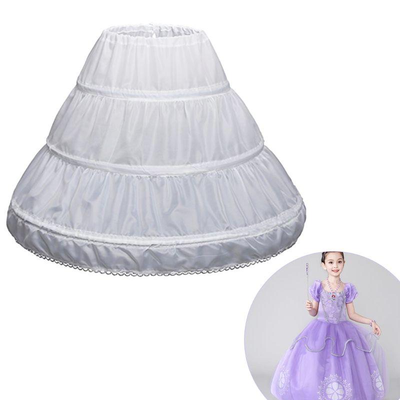 Children Petticoat A-Line 3 Hoops One Layer Kids Crinoline Lace Trim Flower Girl Dress Underskirt Elastic Waist