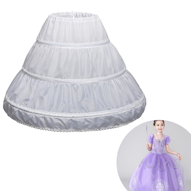 Free Shipping  Children Petticoat A-Line 3 Hoops One Layer Kids Crinoline Lace Trim Flower Girl Dress Underskirt Elastic Waist